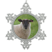 Sheep in a Grasss Field Snowflake Pewter Christmas Ornament