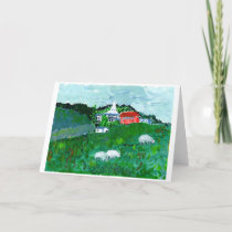 Sheep in a New England landscape note card