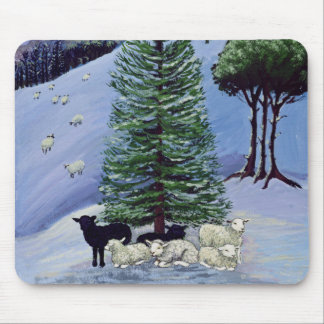 Sheep in a Winter Landscape Mouse Pad