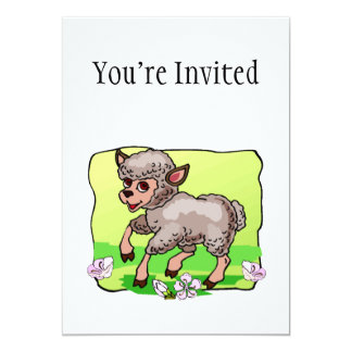 Sheep In Flowers 5x7 Paper Invitation Card