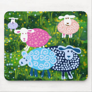 sheep in green pastures mouse pad