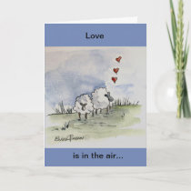 Sheep in love holiday card