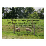 Sheep in Pasture with Scripture Print