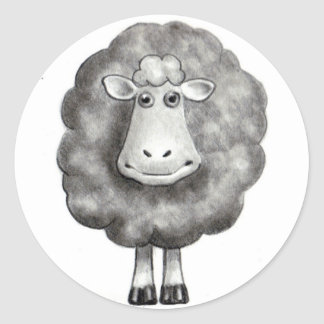 SHEEP IN PENCIL CLASSIC ROUND STICKER