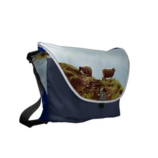 Sheep In Silence on Mountain Desiderata Courier Messenger Bags