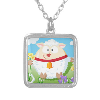 Sheep in spring from the circle serie silver plated necklace