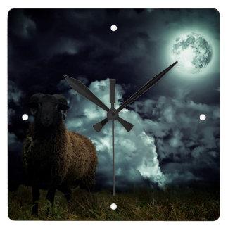 Sheep In The Dark Wall Clock