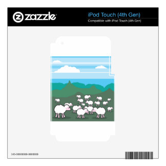Sheep In the Field Vector iPod Touch 4G Decals