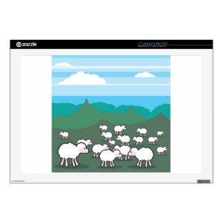 Sheep In the Field Vector Laptop Decal