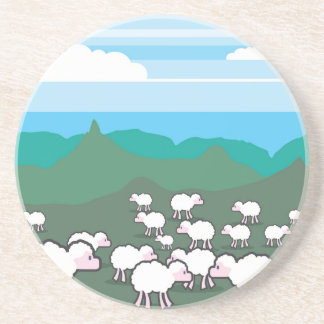Sheep In the Field Vector Sandstone Coaster