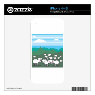 Sheep In the Field Vector Skins For The iPhone 4