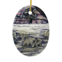 Sheep in winter ceramic ornament