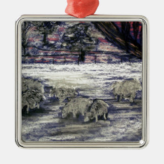 Sheep in winter metal ornament