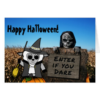 Sheep in Witch Costume at Haunted Corn Maze Card