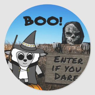 Sheep in Witch Costume at Haunted Corn Maze Classic Round Sticker