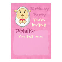 Sheep Invitation Pink