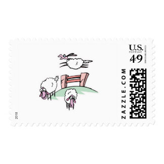 sheep jumping fence postage stamps