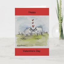Sheep kissing holiday card