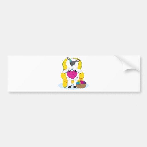 Sheep Knitting Heart Bumper Stickers