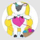 Sheep Knitting Heart Sticker