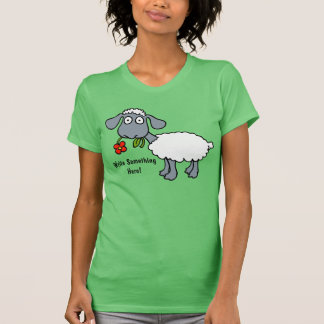 Sheep Lamb Black White Red Flower Personalized Tees