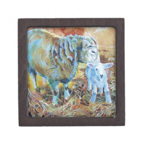 Sheep & Lamb Painting Premium Jewelry Box