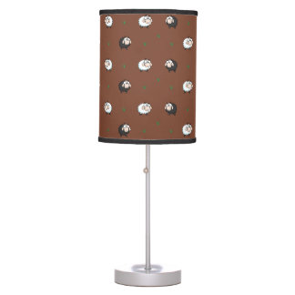 Sheep Lamb Pattern with Grass on Dark Background Table Lamp