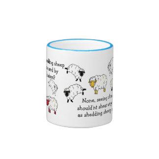 Sheep, Lamb Shearing tounge-twister poem cartoon Ringer Coffee Mug