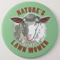 Sheep Lawn Mower Pinback Button