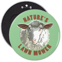 Sheep Lawn Mower Pinback Button