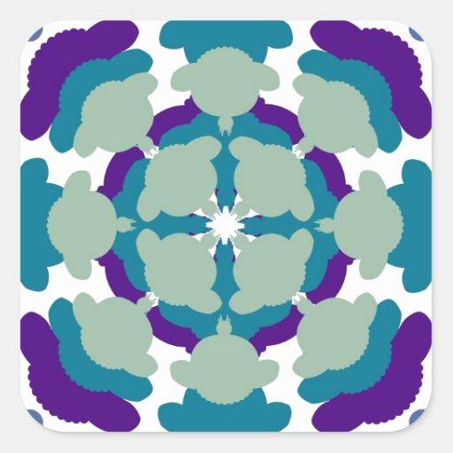 Sheep mandala pattern square sticker