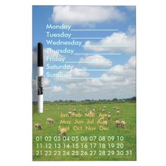 Sheep Meadow Perpetual Calendar Dry Erase Board