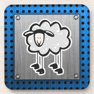 Sheep; metal-look coaster