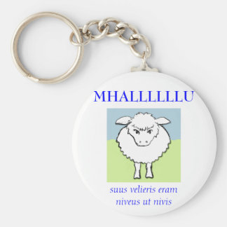 sheep, MHALLLLLLU, suus velieris eram niveus ut... Basic Round Button Keychain