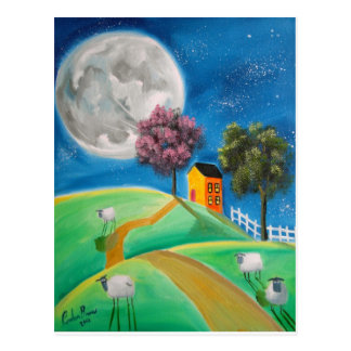 SHEEP MOON FOLK ART POSTCARD