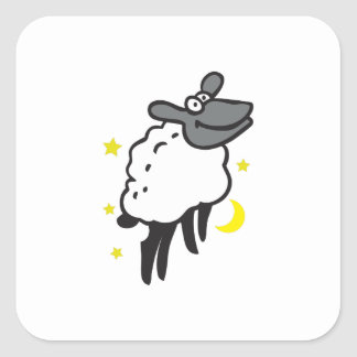 SHEEP MOON STARS SQUARE STICKER