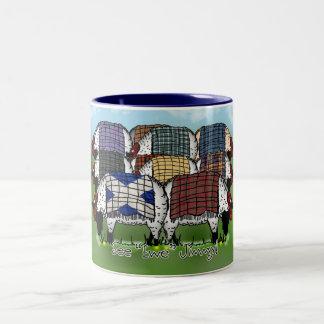 Sheep Mug, Scottish Plaid - See Ewe Jimmy Two-Tone Coffee Mug