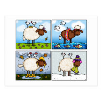 sheep of all seasons postcard