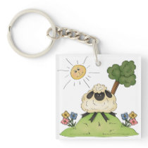Sheep On A Hill Keychain