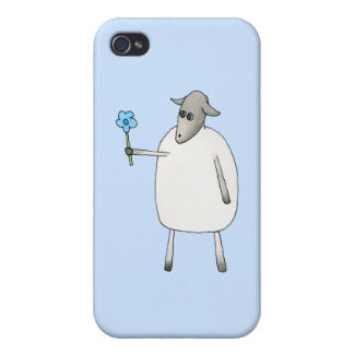 Sheep on Blue Background iPhone 4/4S Cases