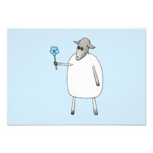 Sheep on Blue Background. Personalized Invitations