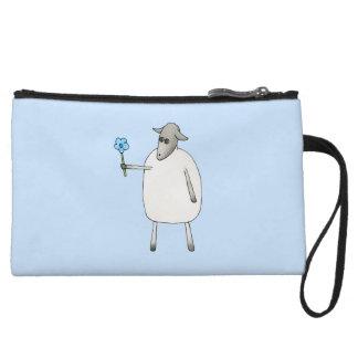 Sheep on Blue Background. Wristlet Purses