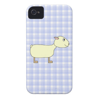 Sheep on Blue Check iPhone 4 Cover