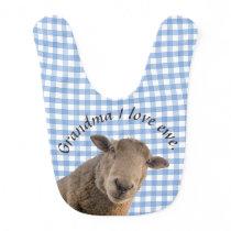 Sheep on blue gingham personalized bib