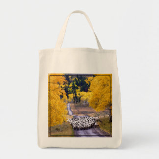 Sheep on Country Road Grocery Tote Bag
