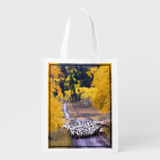 Sheep on Country Road Grocery Bag
