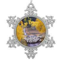 Sheep on Country Road Snowflake Pewter Christmas Ornament
