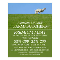 Sheep on Grass, Farmer & Butcher Advertising Flyer