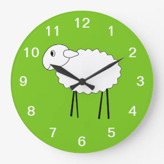Sheep on Green Background. Large Clock