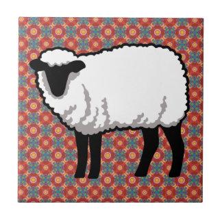 Sheep on Ornate Red Pattern Ceramic Tile